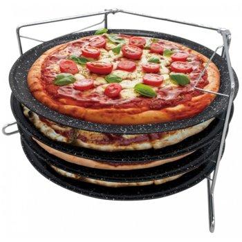 Комплект тави за пица и поставка KingHoff KH 1553, 39х24х20 см, 4 части, стомана, мраморно покритие, черен image
