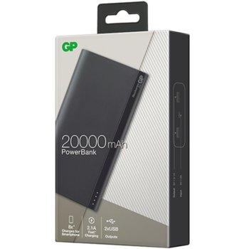 Външна батерия/power bank/ GP Batteries B20A, 20000 mAh, 5V/2.1A, 2 x USB порта, сива image