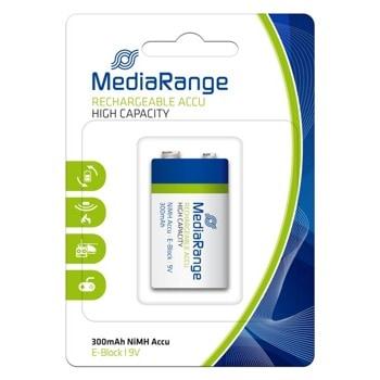 Акумулаторна батерия MediaRange High Cap. MRBAT124, HR22, 9V, 300 mAh, NiMH, 1 брой image