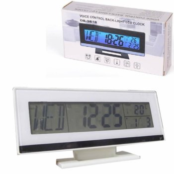 Часовник/будилник, Royal DS-3618, цифров часовник с календар, подсветка, термометър, гласов контрол, бял image