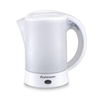 Електрическа кана Rohnson R 7105, 0.6 литър, 600W, автоматично изключване, с комплекта чашки и лъжички, бяла image