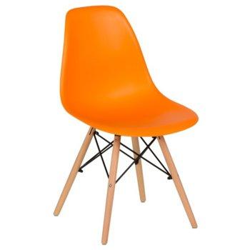 Трапезен стол Carmen 9957, крака от бук и метални подсилващи елементи, оранжев image