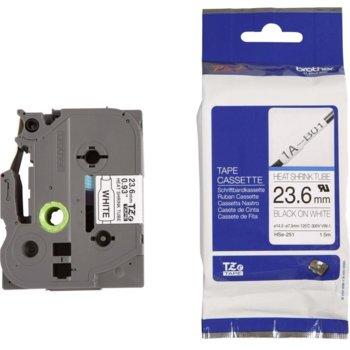 Лента за етикетни принтери BROTHER HS-e - 23.6mm Black on White P№ HSe-251 image