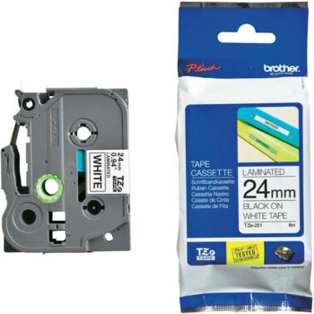 Brother TZ-251 Tape Black on White, Laminated, 24m product