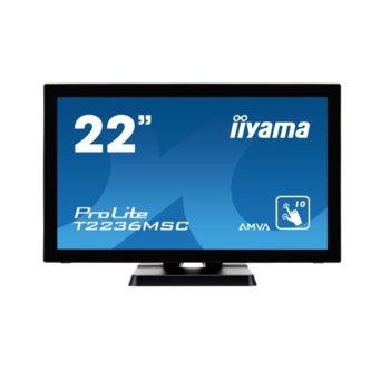 "Дисплей Iiyama T2236MSC-B2, тъч дисплей, 21.5"" (54.61 cm), Full HD, HDMI, VGA, DVI-D, USB image"