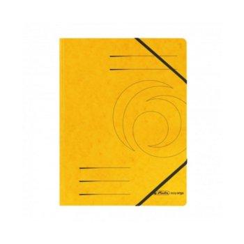 Папка Herlitz Easy Orga, за документи, изработена от картон, с три капака и ластик, размер 250х340мм, жълта image