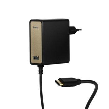 Зарядно устройство HAMA 54184, от контакт към USB Type-C(м) и USB-A(ж), 5V, 2A, черно image