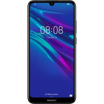 """Смартфон Huawei Y6 2019 (Midnight Black), поддържа 2 sim карти, 6.09"""" (15.47 cm), HD IPS дисплей, четириядрен Cortex-A53 2.0 GHz, 2GB RAM, 32GB Flash памет(+ microSD слот), 13 MPix + 8 MPix камера, Android 9.0, 150 g image"""
