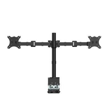 """Стойка за монитор Makki MA-B2-BK, за бюро, за екрани до 30"""", VESA до 100x200, до 8кг. на рамо, регулируема, за 2 бр. монитора, черна image"""