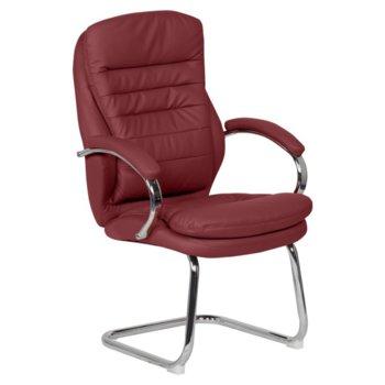 Посетителски стол Carmen 6154, кожа, подлакътници, хромирана база, червен image
