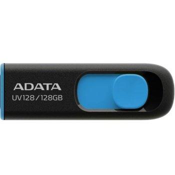 Памет 128GB USB Flash Drive, A-Data UV128, USB 3.0, черна/синя image