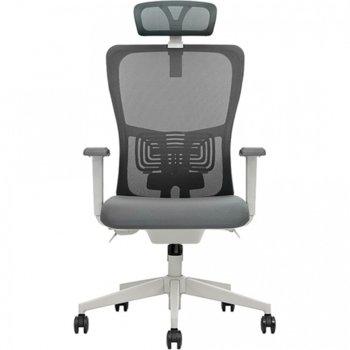 Работен стол Vaseat Bari, пластмасови подлакътници, седалка от мемори пяна, облегалка за глава, газов амортисьор, коригиране на височината, сив image