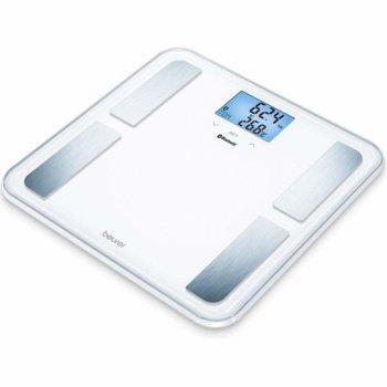 Цифров кантар с анализатор BF 850, капацитет 180 кг, LCD дисплей, Bluetooth, с включена батерия, претегля теглото, телесната мазнина, съдържанието на вода в организма, мускулна маса, калории костна маса, бял  image