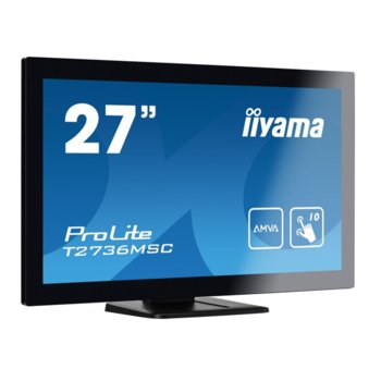"Монитор Iiyama PROLITE T2736MSC-B1, 27"" (68.58 cm) IPS сензорен панел, Full HD, 4ms, 12 000 000:1, 300 cd/m2, Display Port, HDMI, VGA, USB 3.0 image"