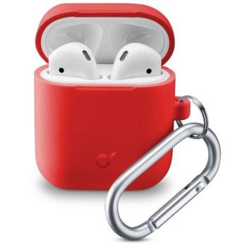 Калъф за слушалки Apple AirPods, Cellular Line Bounce, силиконов, кука за закрепване, червен image