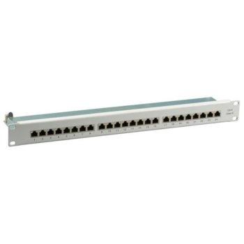 """Пач панел EFB Elektronik 37667.1M, 24x порта, 19"""", 1U, екраниран, Cat.6, Class E, TIA/EIA 568A/B, FTP, сив image"""