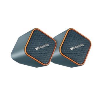 Тонколони Canyon CNS-CSP203O, 2.0, 5W RMS, 3.5mm jack/USB, черни/оранжеви image