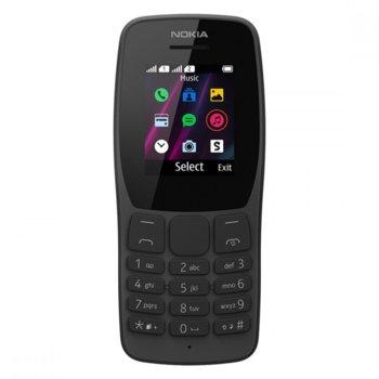"GSM Nokia 110 (черен), поддържа 2 sim карти, 1.77"" (4.49 cm) QQVGA TFT дисплей, 4MB Flash памет (+microSDHC), QVGA камера, 75g image"