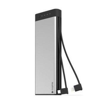 Външна батерия/power bank/ Mophie Encore Plus, 20100 mAh, сребриста, с вградени Lightning и microUSB кабели image