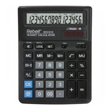 Калкулатор Rebell BDC616 prob&business, 16 аряден дисплей, черен image