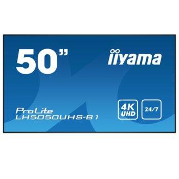 "Публичен дисплей Iiyama LH5050UHS-B1, 50""(127 cm) 4K UHD LED, HDMI, DisplayPort, RS232, LAN, USB image"