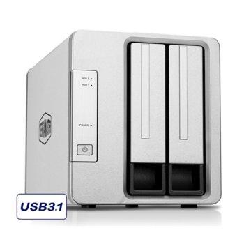"Мрежови диск (NAS) TerraMaster D2-310 DAS Storage, без твърд диск (2x 2.5""/3.5"" SATA/SSD), 1x USB 3.1 Type C image"