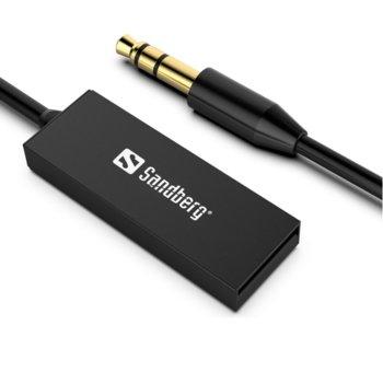 Bluetooth ресивър (приемник) Sandberg SNB-450-11, Bluetooth 5.0, Aux-in, USB Type A, черен image