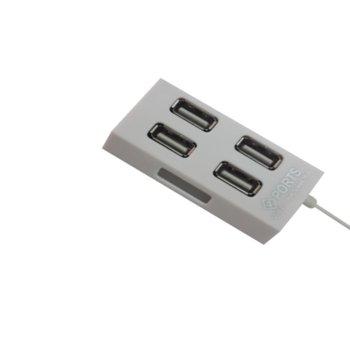 USB Хъб EW625H/4, 4x USB 2.0, бял, бял image
