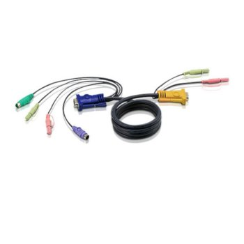 KVM кабел ATEN 2L-5302P, VGA(м) + 2x PS2(м) + 2x RCA към SPHD15(м) + 2x RCA, 1.8 м image