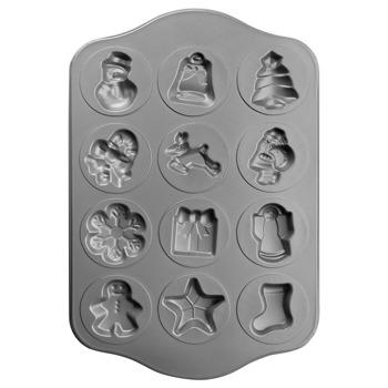 Форма за коледни сладки Ibili 828400, стомана, незалепващо покритие, 30х36 см, 12 гнезда, черен image