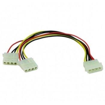 Захранващ кабел DigitalOne SP00081, от Molex 4pin(ж) към 2x Molex 4pin(м), 0.15м image