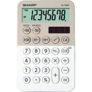 Калкулатор SHARP EL-760RBLA, 8 разряден дисплей, Memory функция, бежов-бял image