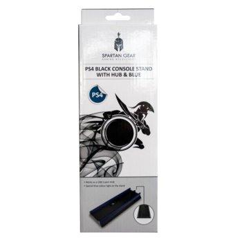 Стойка Spartan Gear Blue Light (21353), за PS4, синя подсветка, USB хъб, черна image