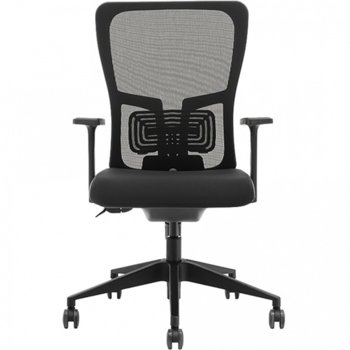 Работен стол Vaseat K5-BF, пластмасови подлакътници, газов амортисьор, коригиране на височината, черен image