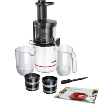 Сокоизтисквачка Bosch MESM500W, Juicer, 1 скорост, 1.3 л кана за пулп, изключително лесна за сглобяване и съхранение, 150W, бяла image