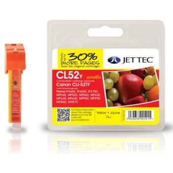 Глава за Canon CLI-521 - Yellow - Неоригинална - С чип - Jet Tec - Заб.: 11 ml image