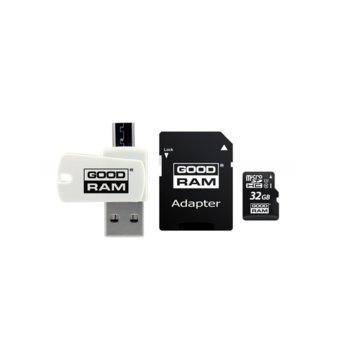 Карта памет 32GB microSDHC с адаптер и четец, Goodram M1A4-0320R11, Class 10 UHS-I, скорост на четене 60 MB/Sec, скорост на запис 10 MB/Sec image
