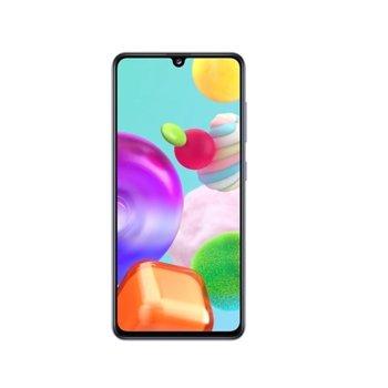"""Смартфон Samsung SM-415 GALAXY A41 (син), поддържа 2 SIM карти, 6.1"""" (15.49 cm) FHD+ Super AMOLED, осемядрен Mediatek MT6768 2GHz, 4GB RAM, 64GB Flash памет (+ microSD слот), 48.0 MP + 8.0 MP + 5.0 MP & 25.0 MPix камера, Android 10 image"""