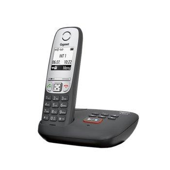 Безжичен телефон Gigaset A415A,течнокристален черно-бял дисплей, черен image