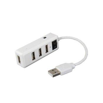 USB хъб H004, 4x USB 2.0, бял image