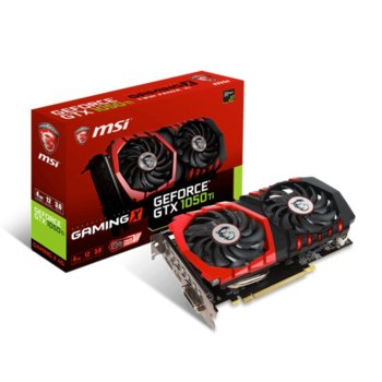 Видео карта GF GTX 1050 TI, 4GB, MSI GTX 1050 TI GAMING X, PCI-E 3.0, GDDR5, 128bit, Display Port, HDMI, DVI  image
