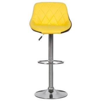Бар стол Carmen, 3080,хромирана основа и мека, кожена седалка, газов амортисьор за коригиране на височината и степенка, жълто черен image