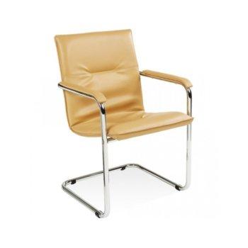 Посетителски стол Rumba Beige, еко кожа, хромирани крака, бежов image
