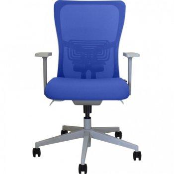 Работен стол Vaseat Valmar, пластмасови подлакътници, седалка от мемори пяна, газов амортисьор, коригиране на височината, син image