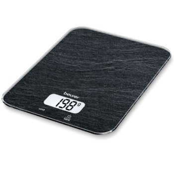 Цифров кухненски кантар Beurer KS 19 slate kitchen scale, капацитет 5 кг, LCD дисплей, с включена батерия, черен с шарки image