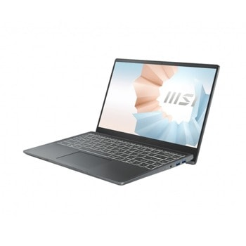 "Лаптоп MSI Modern 14 B11MO-269BG (9S7-14D314-269)(сив), двуядрен Tiger Lake Intel Core i3-1115G4 3.0/4.1 GHz, 14.0"" (35.56 cm) Full HD IPS Anti-Glare Display, (HDMI), 8GB DDR4, 256GB SSD, 1x USB 3.2 Type-C, No OS image"