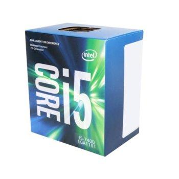 Процесор Intel Core i5-7400 четириядрен (3.0/3.5GHz, 6MB Cache, 350MHz-1.00GHz GPU, LGA1151) BOX, с охлаждане image