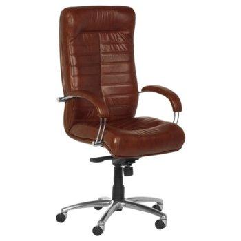 Директорски стол Orion LUX, естествена кожа, алуминиева база, хромирани подлакътници, мултиблок заключване, газов амортисьор, табак image
