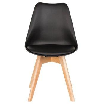 Трапезен стол Carmen 9958 B, полипропилен, еко кожа, дървена база, черен image
