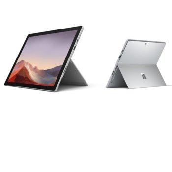 "Лаптоп Microsoft Surface Pro 7 (VDV-00003)(сребрист), 12.3"" (31.24 cm) PixelSense дисплей, четириядрен Intel Core i5-1035G4 1.1/3.7 GHz, 8GB LPDDR4, 128 GB SSD (+ microSD слот), 8.0 & 5.0 Mpix камера, Windows 10 Home, 770 g, без клавиатура image"